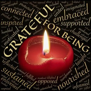 A candle burning in the middle of a word cloud about gratetude.